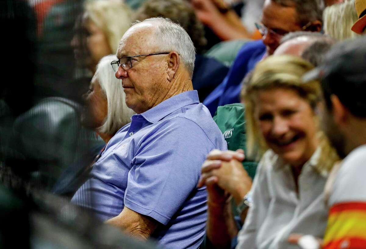 Nolan Ryan watches Game 2 of the American League Championship Series at Minute Maid Park on Sunday, Oct. 13, 2019, in Houston.