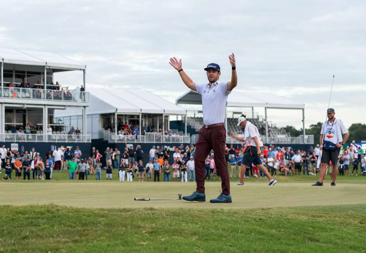 Lanto Griffin waves to the gallery after sinking his putt for par on the 18th green giving him the Houston Open win at the Golf Club of Houston in Humble Texas on Sunday, October 13, 2019.
