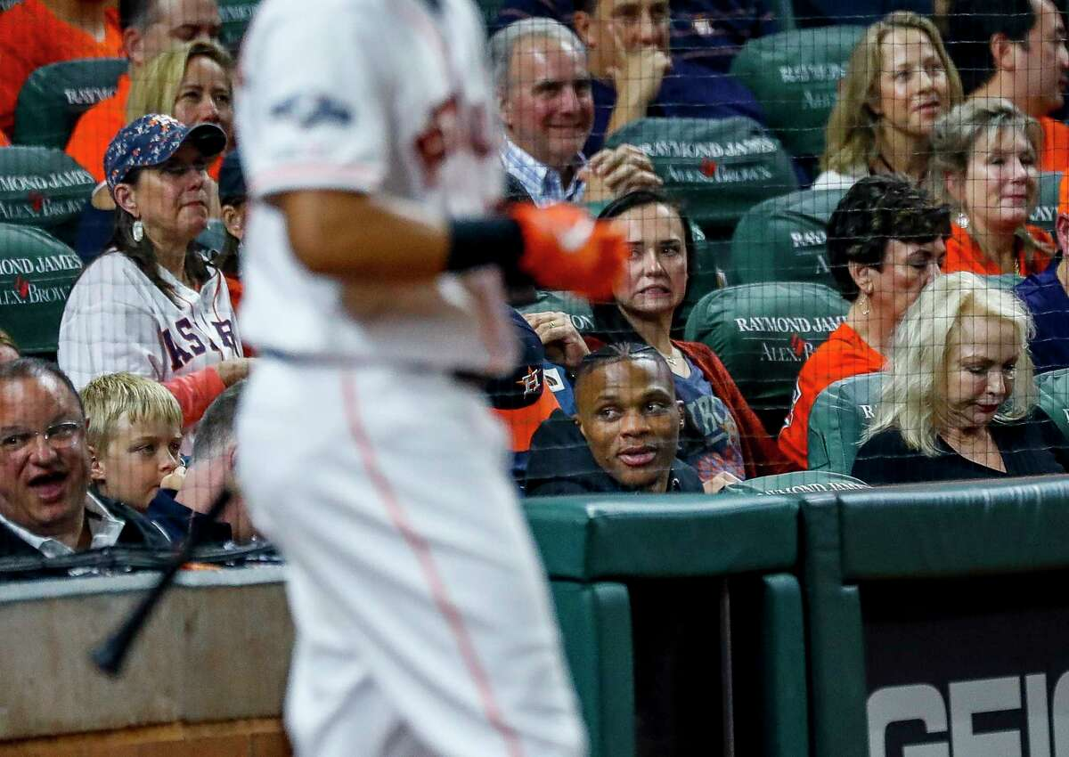 PHOTOS: A look at fans at Sunday night's Astros-Yankees game Houston Rockets guard Russell Westbrook watches the Astros game from behind home plate during Game 2 of the American League Championship Series at Minute Maid Park on Sunday, Oct. 13, 2019, in Houston. Browse through the photos above for a look at fans at Game 2 of the Astros-Yankees series ...