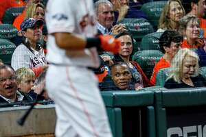 Houston Rockets guard Russell Westbrook watches the Astros game from behind home plate during Game 2 of the American League Championship Series at Minute Maid Park on Sunday, Oct. 13, 2019, in Houston.