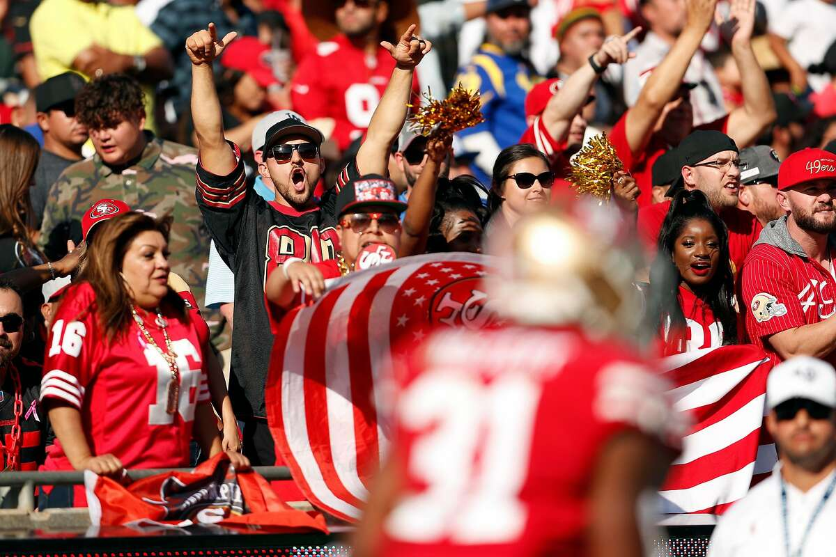 San Francisco 49ers' fans react in 4th quarter of Niners' 20-7 win over Los Angeles Rams during NFL game at Los Angeles Coliseum in Los Angeles, Calif., on Sunday, October 13, 2019.