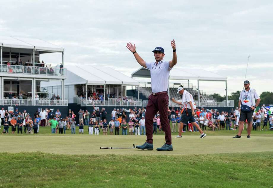 Lanto Griffin waves to the gallery after sinking his putt for par on the 18th green giving him the Houston Open win at the Golf Club of Houston in Humble Texas on Sunday, October 13, 2019. Photo: Wilf Thorne / Contributor / © 2019 Houston Chronicle