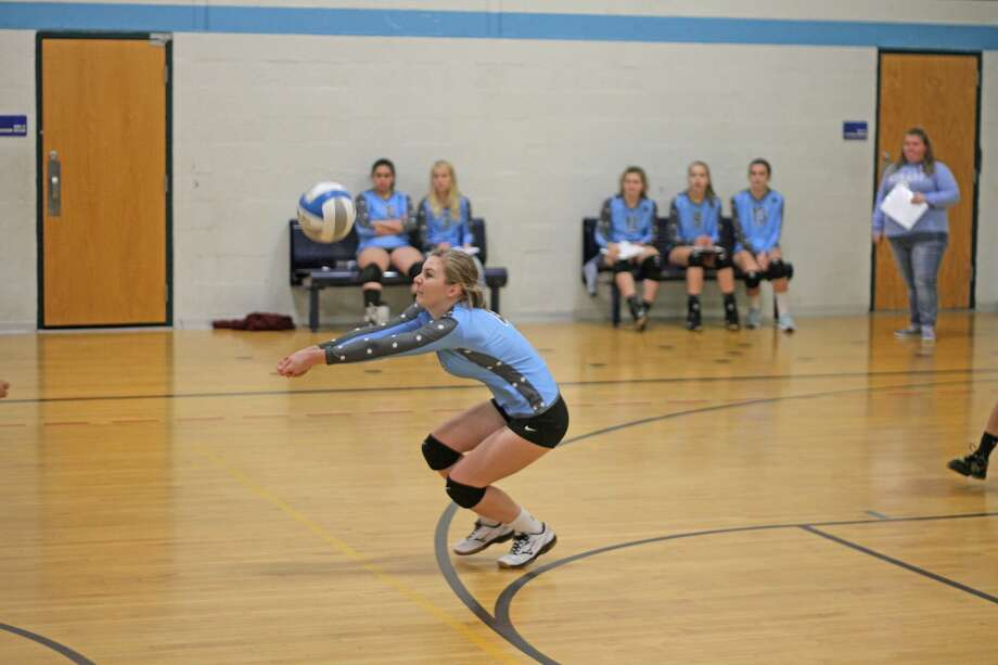 Brethren's Kaia Richardson digs up a ball in the Bobcats' loss to Mesick at the WMDL tournament. Photo: Kyle Kotecki/News Advocate
