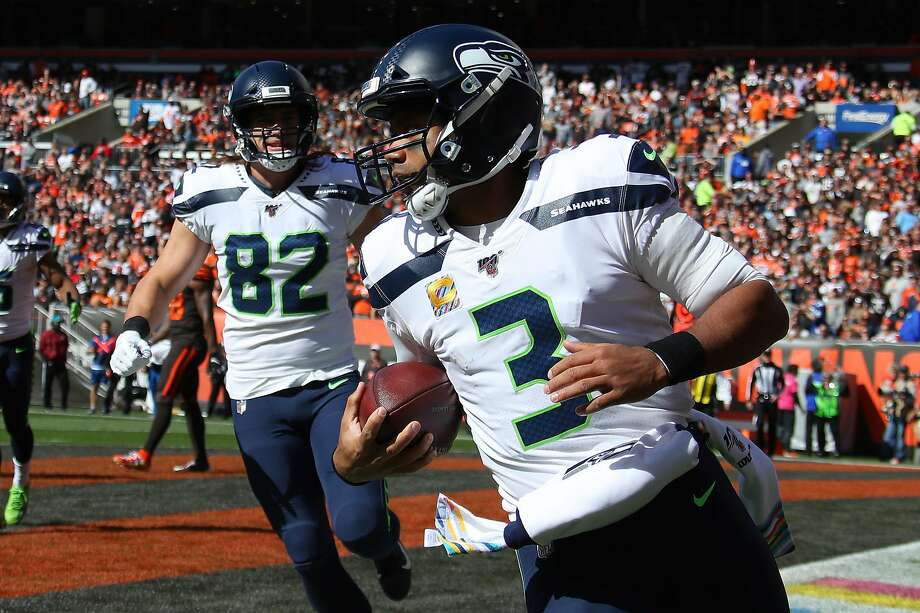 CLEVELAND, OHIO - OCTOBER 13:  Russell Wilson #3 of the Seattle Seahawks scores a first quarter touchdown against the Cleveland Browns at FirstEnergy Stadium on October 13, 2019 in Cleveland, Ohio. (Photo by Gregory Shamus/Getty Images) Photo: Gregory Shamus, Getty Images