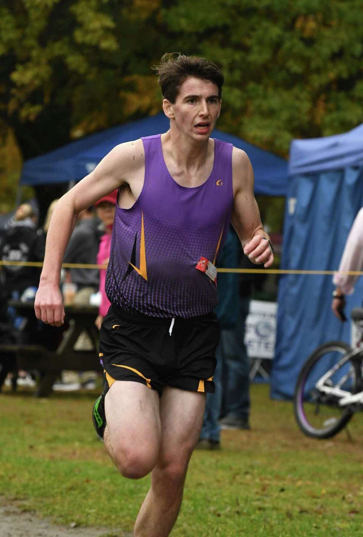 Section II Cross Country Championships Class D second place finisher, Andrew Drescher of Duanesburg heads to the finish line at Saratoga Spa State Park on Friday, Nov. 2, 2018, in Saratoga Springs, N.Y. (Will Waldron/Times Union)