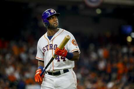 Houston Astros designated hitter Yordan Alvarez (44) walks back to the dugout after popping out and stranding two runners during the third inning of Game 2 of the American League Championship Series at Minute Maid Park on Sunday, Oct. 13, 2019, in Houston.