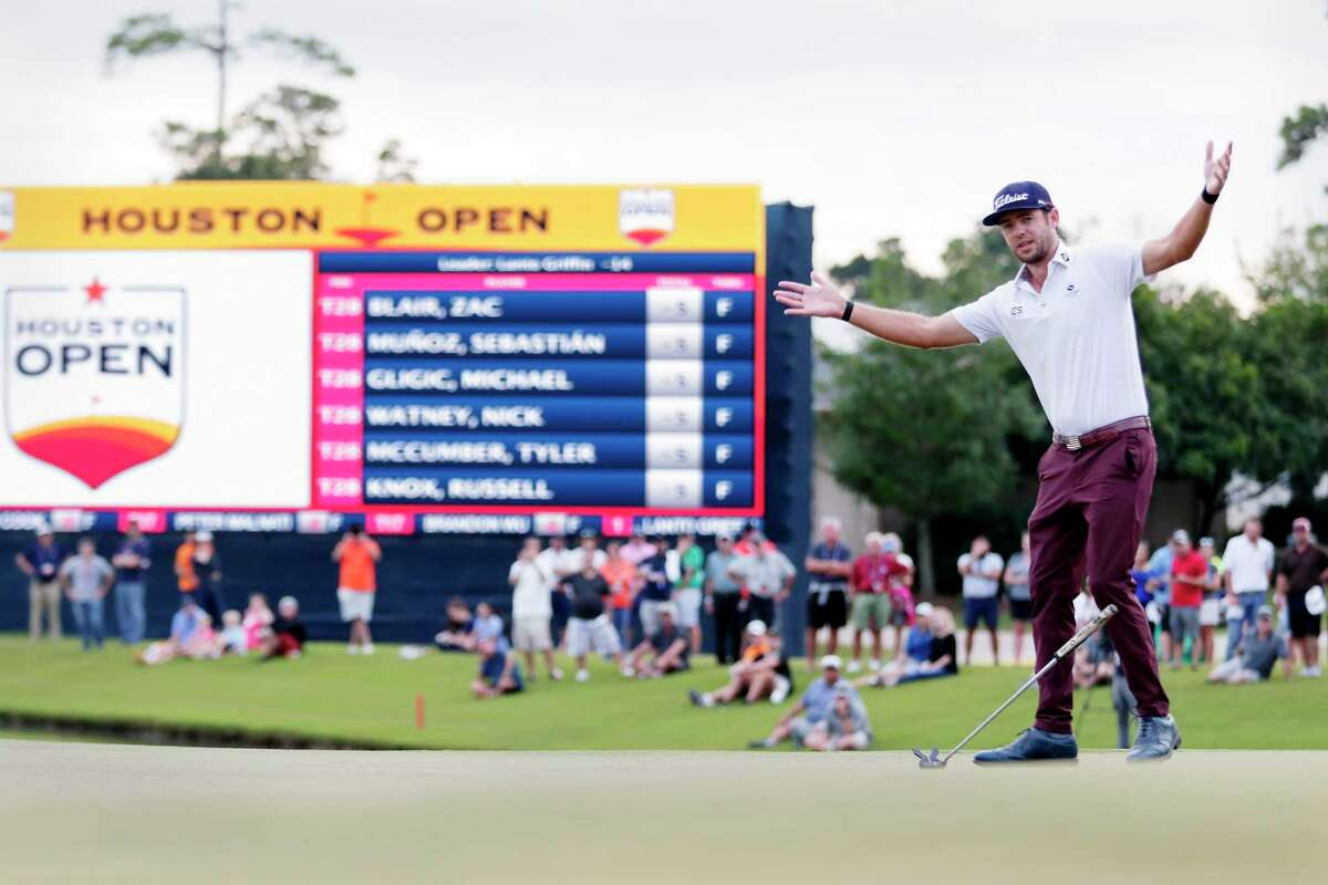 Lanto Griffin reacts after sinking his final putt to win the Houston Open golf tournament Sunday, Oct, 13, 2019, in Houston. (AP Photo/Michael Wyke)