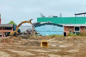 Final demolition of the former Sugnet Building, also known as the original Midland Hospital, is now underway, kicking off phase two of a three-year construction project on the campus of MidMichigan Medical Center - Midland. (Photo provided/MidMichigan Health)