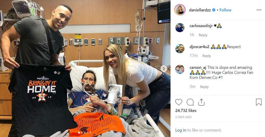 Astros shortstop Carlos Correa and his fiancee Daniella Rodriguez visited Laredoan Jalen Garcia on Friday at the MD Anderson Cancer Center in Houston. Photo: Instagram