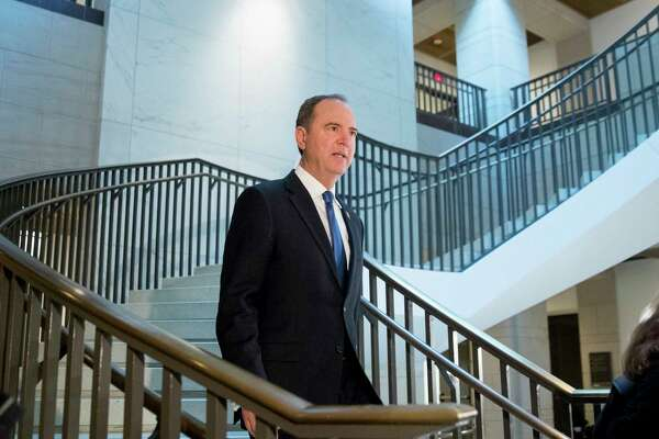 House Intelligence Committee Chairman Rep. Adam Schiff, of Calif., arrives on Capitol Hill in Washington, Monday, Oct. 14, 2019, before former WH advisor on Russia, Fiona Hill, is scheduled to testify before congressional lawmakers as part of the House impeachment inquiry into President Donald Trump.