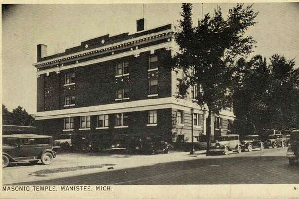 The Masonic Temple building is shown in this 1920s photograph. The building still exits, but is no longer owned by the Masons.
