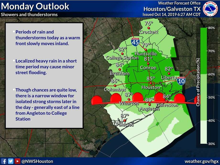 Houstonians are in for a 70 percent chance of showers and thunderstorms, mostly later in the day on Monday, Oct. 14, 2019, according to the National Weather Service. >> Keep clicking through to see where to get the best cold-weather food in Houston Photo: National Weather Service