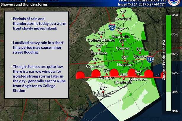 Houstonians are in for a 70 percent chance of showers and thunderstorms, mostly later in the day on Monday, Oct. 14, 2019, according to the National Weather Service.