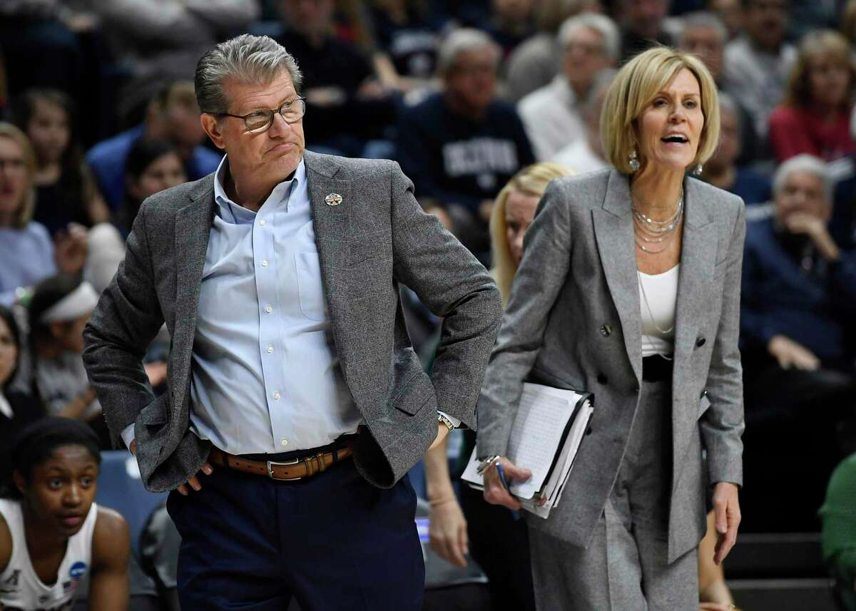 UConn coach Geno Auriemma and associate head coach Chris Dailey, right, during the second half of a second-round women's college basketball game in the NCAA tournament on Sunday, March 24, 2019 in Storrs.