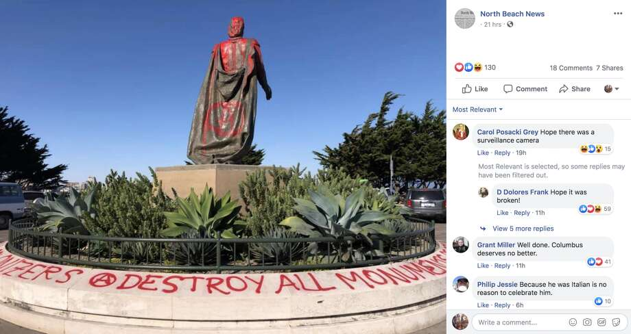 The North Beach News posted an image on Facebook of the Christopher Columbus statue near Coit Tower covered in red paint. Photo: North Beach News