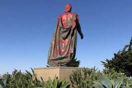 The North Beach News posted an image on Facebook of the Christopher Columbus statue near Coit Tower covered in red paint.