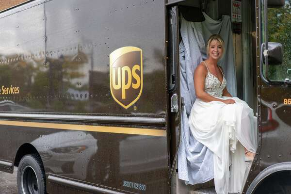 Ann-Elyse Drzewicki, owner of The UPS Store No. 0148, was transported to her wedding in a UPS truck. (Photo Provided/The Midland UPS Store)