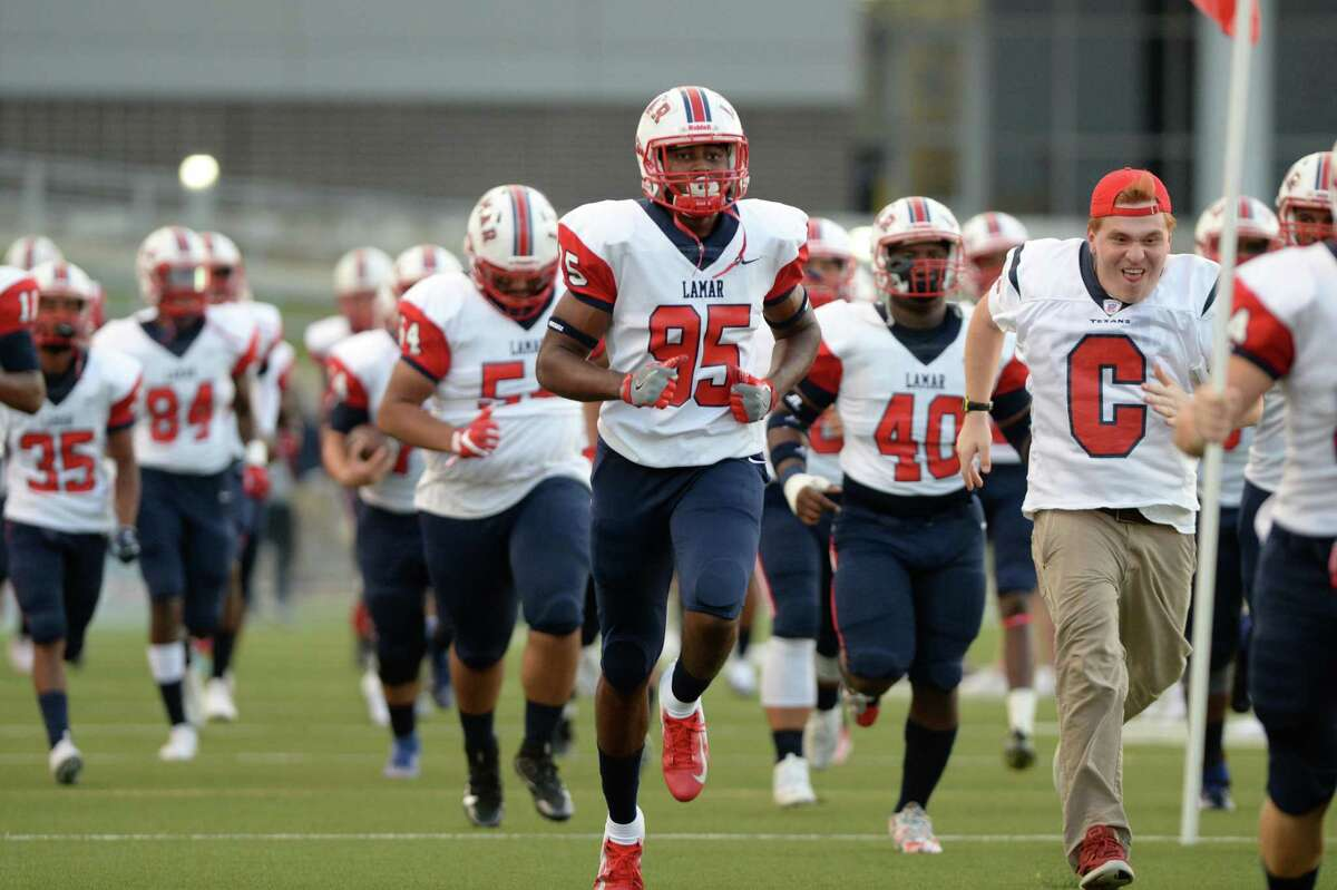 The Lamar Texans take the field for a 6A Region III District 18 football game with the Westside Wolves on Friday, October 4, 2019 at Delmar Stadium, Houston, TX.