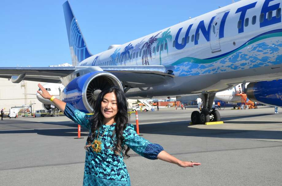 San Francisco-artist Tsungwei Moo said she never imagined going from creating art that was being displayed inside San Francisco Muni buses and trains to designing a California-themed paint job that would be splashed on the side of a United Airlines Boeing 757-200. Photo: Tim Jue