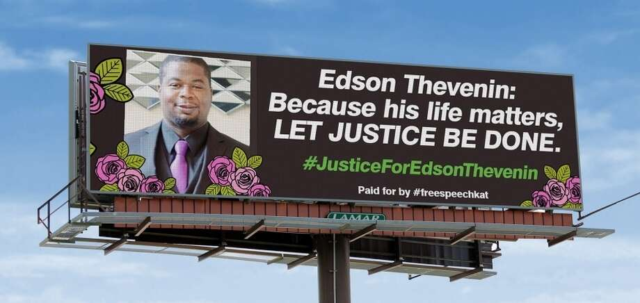 Kat Sullivan, a former Emma Willard student who says she was shipped away from the school after she reported being raped by a teacher in 1998, has turned over her use of a billboard in downtown Albany to the family of Edson Thevenin, the 37-year-old man who was shot and killed by a Troy police sergeant on April 17, 2016. Photo: Kat Sullivan