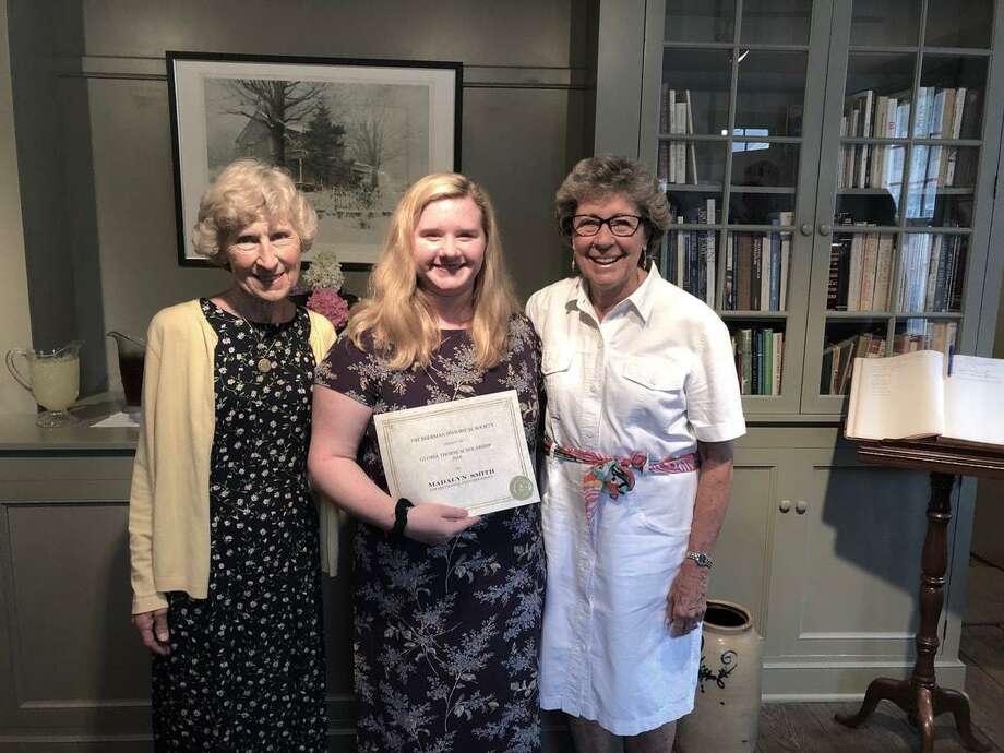 Gloria Thorpe Scholarship winner Madalyn Smith, center, with Sherman Historical Society President Sue Moga, left, and Gloria Thorne, right. Photo: Sherman Historical Society