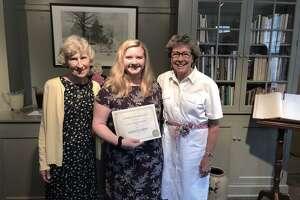 Gloria Thorpe Scholarship winner Madalyn Smith, center, with Sherman Historical Society President Sue Moga, left, and Gloria Thorne, right.