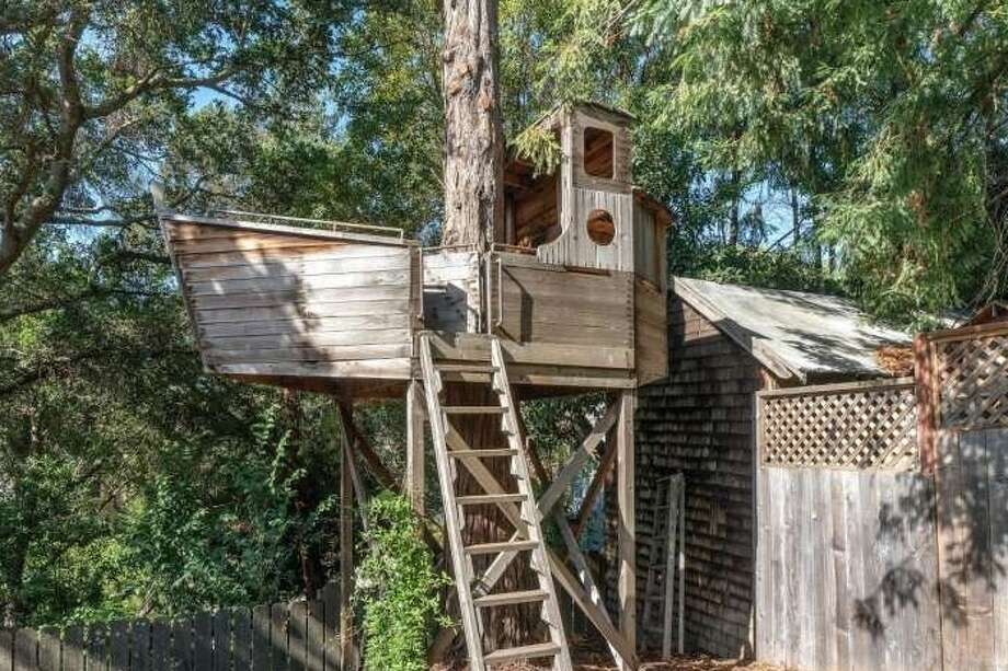 The true star of 1933 Yolo Avenue, a home currently for sale in Berkeley, is its naval treehouse. It was built by a former Greenpeace Rainbow Warrior crew member. Photo: Open Homes Photography