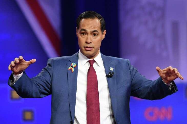 Democratic presidential hopeful former Secretary of Housing and Urban Development Julian Castro speaks during a town hall devoted to LGBTQ issues hosted by CNN and the Human rights Campaign Foundation at The Novo in Los Angeles on October 10, 2019. (Photo by Robyn Beck / AFP) (Photo by ROBYN BECK/AFP via Getty Images)