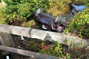 Car crashed and rolled over in the Transylvania Brook on Sunday afternoon.