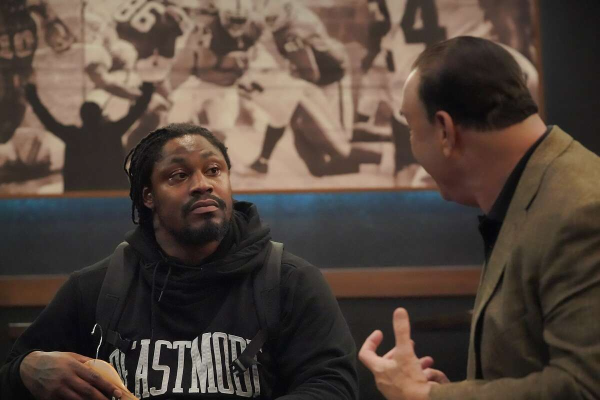 Marshawn Lynch is interviewed with Bar Rescue host Jon Taffer by Justin Phillips on Sunday, Oct. 13, 2019, in Oakland, Calif.