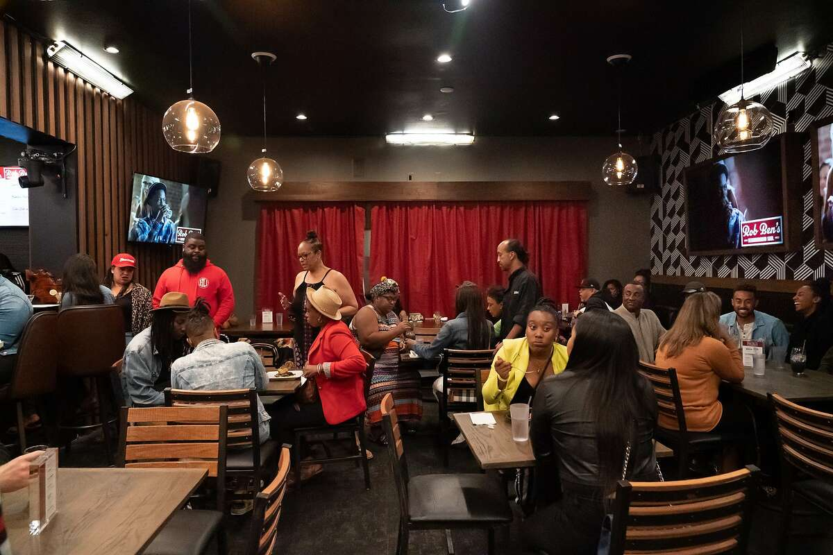 Marshawn Lynch's East Bay restaurant, Rob Ben's, is opened after a renovation in an episode of Bar Rescue on Sunday, Oct. 13, 2019, in Oakland, Calif.