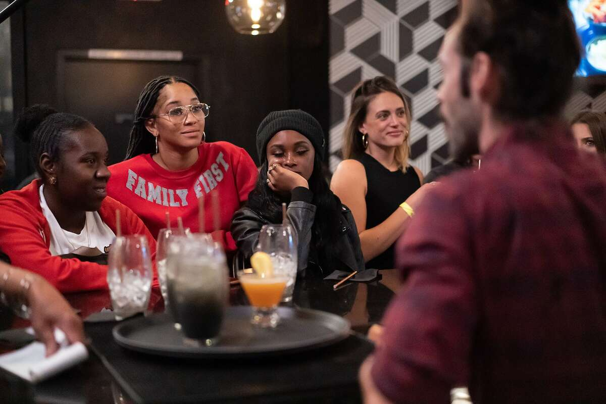 Customers at Marshawn Lynch's East Bay restaurant, Rob Ben's, during filming of an episode of Bar Rescue on Sunday, Oct. 13, 2019, in Oakland, Calif.