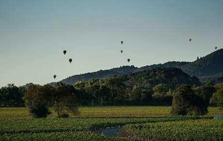 Balloons fly near Tom Gamble's farm on Friday, Oct. 4, 2019, in Napa, Calif. Photo: Paul Kuroda / Special To The Chronicle
