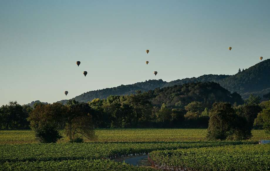 Balloons fly near Tom Gamble's farm on Friday, Oct. 4, 2019, in Napa, Calif. Photo: Paul Kuroda / Special To The Chronicle