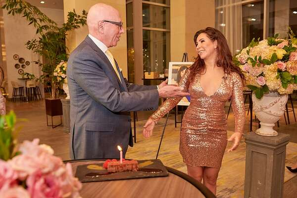 On Wednesday, Oct 2, which was Rachel's 35th birthday, more than 50 people gathered for her big post plastic surgery reveal at the InterContinental Houston - Medical Center.