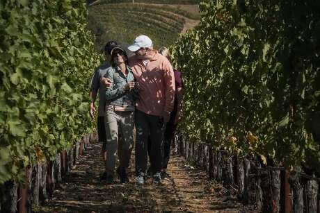 Beth and Ken Karmin takes a walk through the Cliff Lede Vinyards on a tour by Napa Valley Bike Tours & Rentals on Saturday, Oct. 12, 2019, in Yountville, Calif. Behind them is Mitch Becker and Karen Olan. Photo: Paul Kuroda / Special To The Chronicle