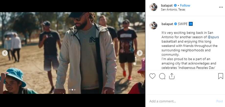 """Respecting the land, acknowledging the people and enjoying the rich history of San Antonio this long weekend is what I'll be doing. Identity is everything,"" Spur Patty Mills said on his Instagram account, @balapat, on Monday as San Antonio recognized Indigenous Peoples Day. Photo: Instagram Screengrab"