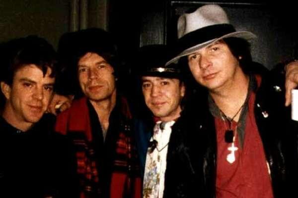 Chris Layton, Mick Jagger, Stevie and me.