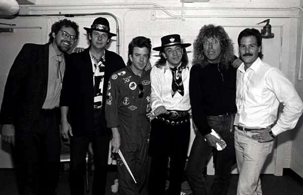 This was when we toured with Robert Plant. Great tour. I always loved Led Zeppelin. They were one of the greatest bands ever. In 1969, when I was playing with Johnny Winter, we played several shows with them. They were unbelievable! The guy on the far right with the mustache was our Tour Manager, Skip Rickert. (If you're wondering why Robert Plant has that terrified look on his face, it's because Stevie is giving him a wedgie.) [Editor's note: Tommy says Stevie did not really give Plant a wedgie. J/K Robert!]