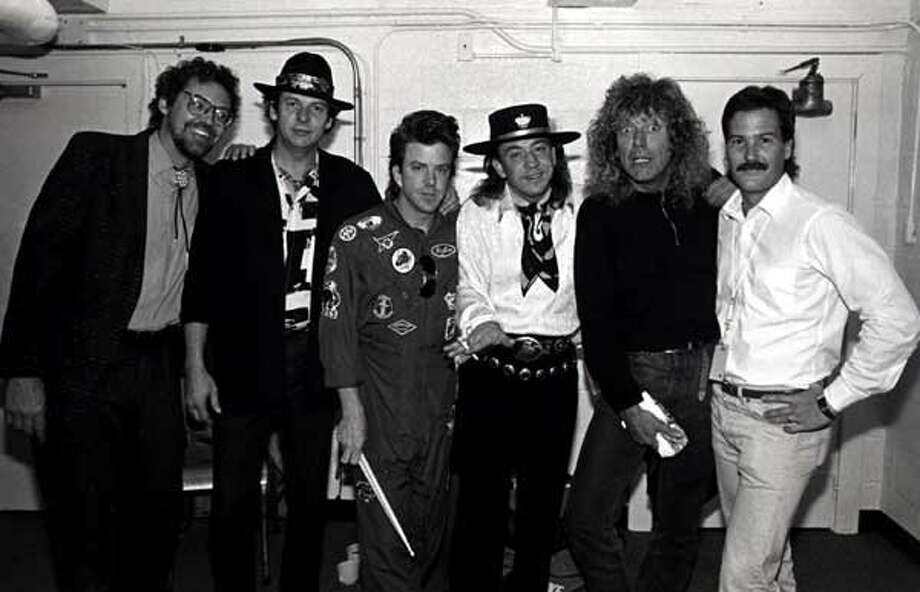 This was when we toured with Robert Plant. Great tour. I always loved Led Zeppelin. They were one of the greatest bands ever. In 1969, when I was playing with Johnny Winter, we played several shows with them. They were unbelievable! The guy on the far right with the mustache was our Tour Manager, Skip Rickert. (If you're wondering why Robert Plant has that terrified look on his face, it's because Stevie is giving him a wedgie.) [Editor's note: Tommy says Stevie did not really give Plant a wedgie. J/K Robert!] Photo: David Betito