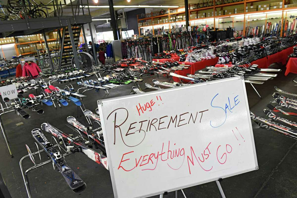 Interior of Plaine and Son which is having a retirement sale on Monday, Oct. 14, 2019 in Schenectady, N.Y. The store sells bikes, skies and snowboards as well as the clothing and tools needed for those sports. (Lori Van Buren/Times Union)