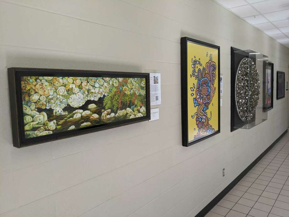 Pieces from The Woodlands High School Art Trust adorn the walls of the school on all three floors, so the students can engage with the art they picked on a daily basis. Photo: Jamie Swinnerton