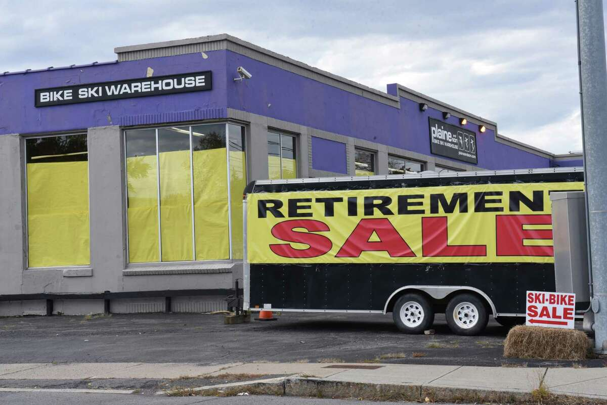 Exterior of Plaine and Son which is having a retirement sale on Monday, Oct. 14, 2019 in Schenectady, N.Y. The store sells bikes, skies and snowboards as well as the clothing and tools needed for those sports. (Lori Van Buren/Times Union)