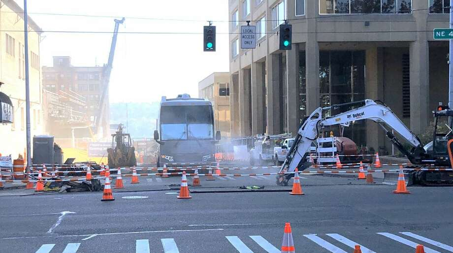 Firefighters respond to a report of a natural gas leak in the University District. Photo: Courtesy Seattle Fire