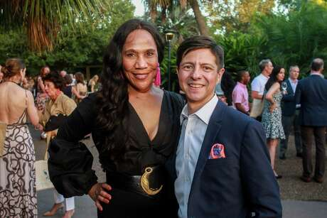 EMBARGOED FOR SOCIETY REPORTER UNTIL OCTOBER 13 Myrtle Jones and Nick Espinosa at the Houston Zoo's 12th annual Wildlife Conservation Gala on October 10, 2019.