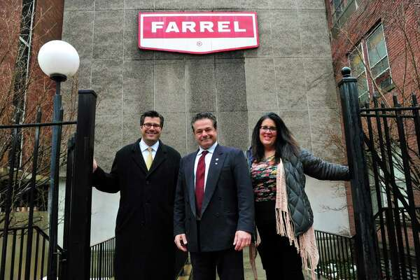 From left, Ansonia Corporation Counsel John Marini, Mayor David Cassetti and Economic Development Director Sheila O'Malley