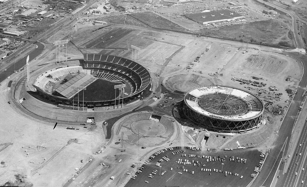 Aerial view from the Goodyear blimp of the Oakland -Alameda County Coliseum Complex under construction , September 4, 1966 Photo ran September 16, 1966, p. 55