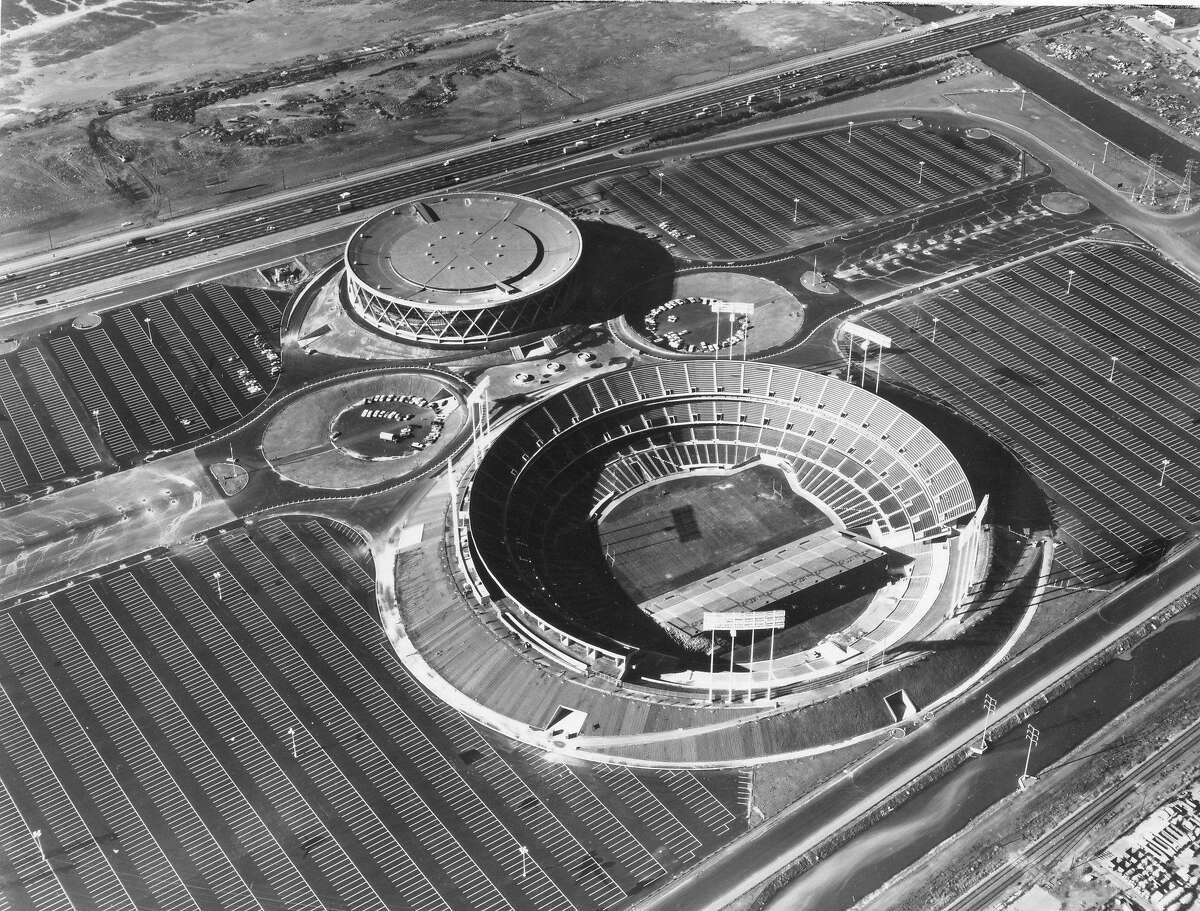 Aerial view of the Oakland -Alameda County Coliseum Complex which has won an award of merit from the American Society of Civil Engineers, February 1967 Handout photo courtesy of the American Society of Civil Engineers