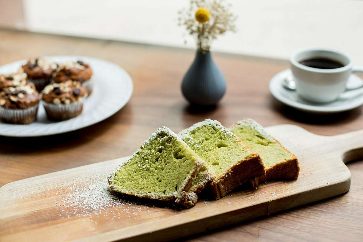 Chef Nora Haron's moringa cloud cake, a dairy-free chiffon made with coconut milk and slightly bitter moringa leaf powder for the upcoming F-- You Up Bakery on September 27, 2019 in San Francisco, California.