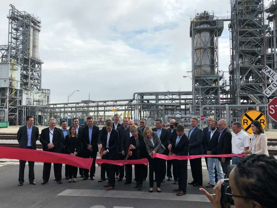 On Monday, ExxonMobil invited local officials to join executives at the plant site on the western edge of Beaumont to celebrate the opening with a tour of the new line expected to increase polyethylene production by 65%. Photo: Jacob Dick